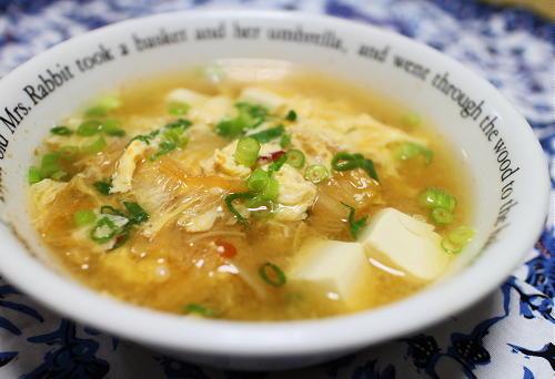 今日のキムチ料理レシピ:なめたけとキムチの卵汁