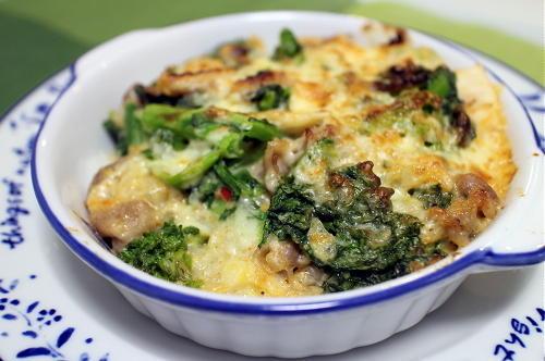 今日のキムチレシピ:菜の花と豚肉のキムチドリア