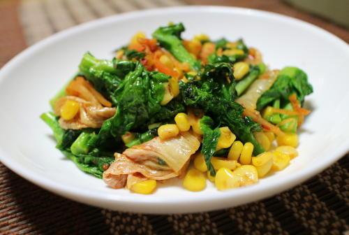 今日のキムチレシピ:菜の花とキムチのにんにく炒め