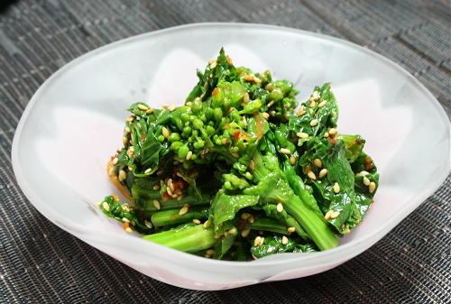今日のキムチ料理レシピ:菜の花のピリ辛胡麻和え