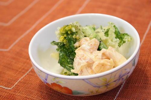 今日のキムチ料理レシピ:菜の花のてんぷらキムマヨソース