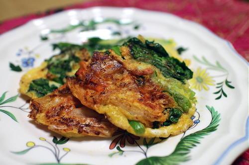 今日のキムチ料理レシピ:菜の花キムチピカタ