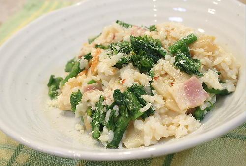 今日のキムチ料理レシピ:菜の花とたけのこのキムチリゾット