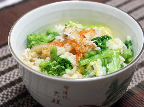 今日のキムチ料理レシピ:菜の花キムチ雑炊