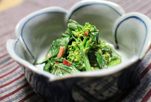 今日のキムチ料理レシピ:菜の花のぴり辛マヨ和え