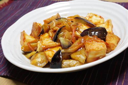 茄子と厚揚げの甘酢キムチ炒め