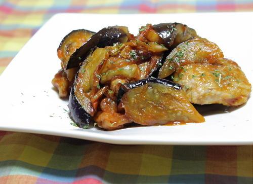 豚肉と茄子のキムチケチャップ炒め