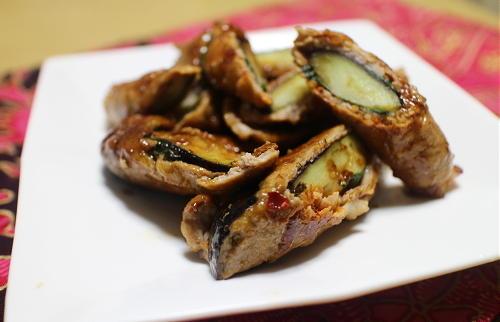 今日のキムチ料理レシピ:なすのキムチ豚肉巻き