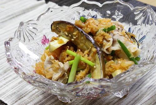 今日のキムチ料理レシピ:茄子と豚しゃぶのキムチサラダ