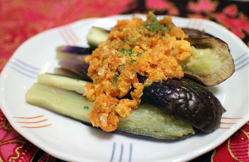 今日のキムチ料理レシピ:茄子のキムチチーズドレッシング