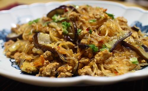 今日のキムチ料理レシピ:茄子の麻婆春雨