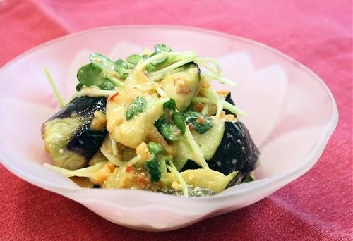 今日のキムチ料理レシピ:ナスとキムチの味噌和え