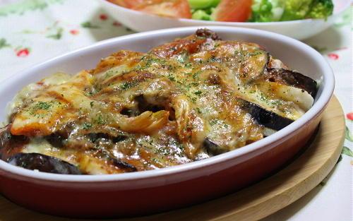 今日のキムチ料理レシピ:長芋と茄子とキムチのミートソース焼き