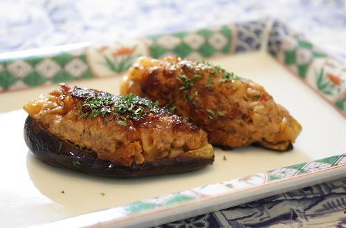 今日のキムチ料理レシピ:茄子のキムチ肉詰め