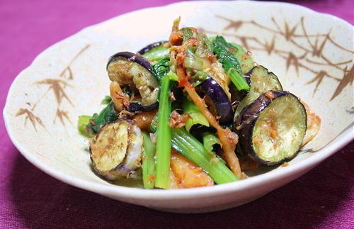 今日のキムチ料理レシピ:なすとキムチのおかか和え