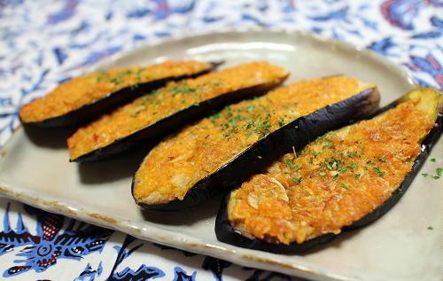 今日のキムチ料理レシピ: 茄子のキムチパン粉焼き