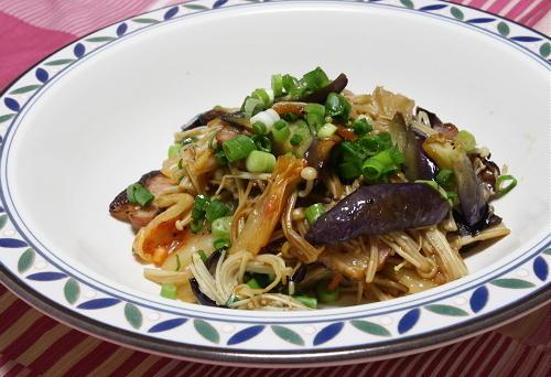 今日のキムチレシピ:茄子とキムチのポン酢炒め