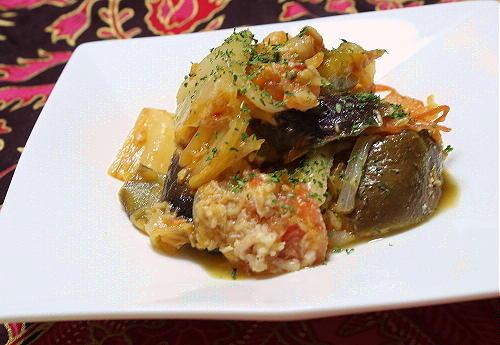 今日のキムチ料理レシピ:茄子とキムチのツナ炒め