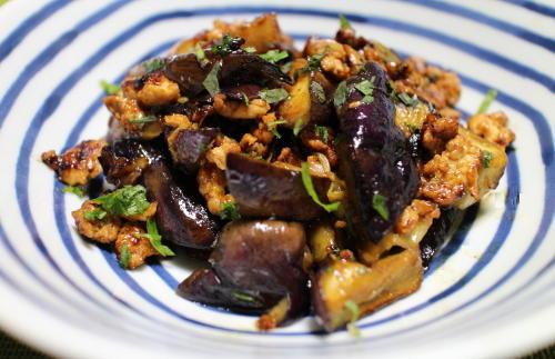 今日のキムチレシピ:茄子のキムチ鶏ひき肉炒め