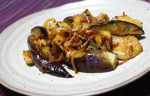 今日のキムチ料理レシピ:茄子と鶏肉とキムチのオイスターソース炒め