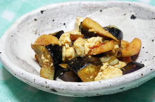 茄子と豆腐と大根キムチの甘辛味噌炒めレシピ