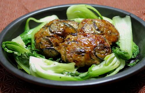 今日のキムチ料理レシピ:茄子キムチつくね