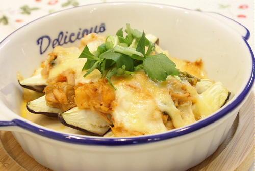 今日のキムチ料理レシピ:茄子のツナキムチソース焼き