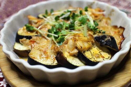今日のキムチレシピ:なすとキムチのツナ味噌焼き