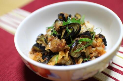 今日のキムチレシピ:茄子の梅キムチ和え