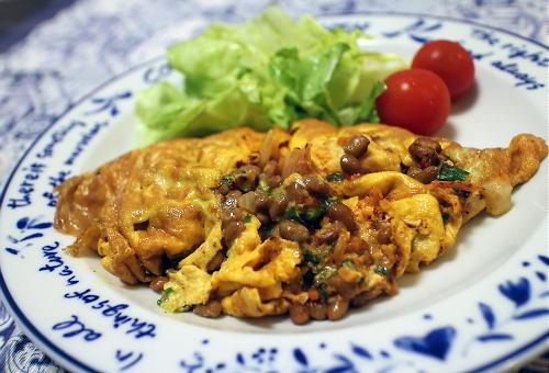 今日のキムチレシピ:納豆キムチオムレツ