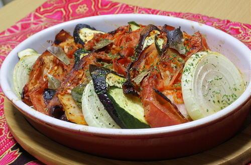 今日のキムチ料理レシピ:夏野菜とキムチのオーブン焼き
