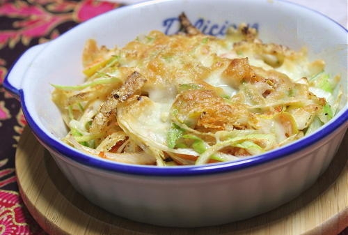 今日のキムチ料理レシピ: ねぎとキムチのチーズ焼き