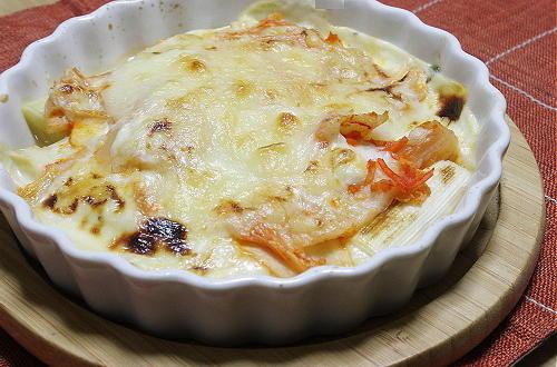 今日のキムチ料理レシピ:長ネギキムチグラタン