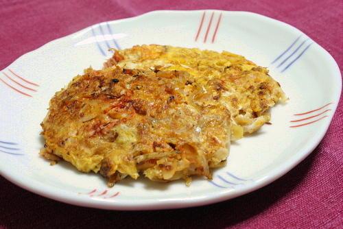 今日のキムチ料理レシピ:ねぎじゃこキムチの卵焼き