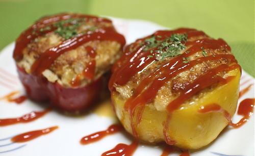 今日のキムチレシピ:キムチ入り肉詰めパプリカ