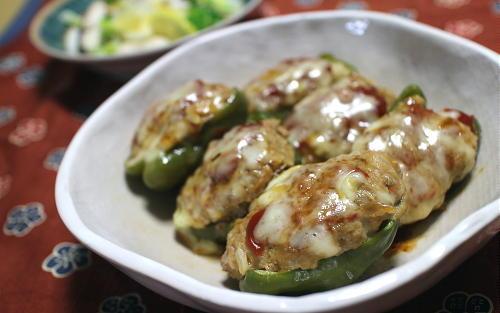 今日のキムチレシピ:キムチひき肉詰めピーマン
