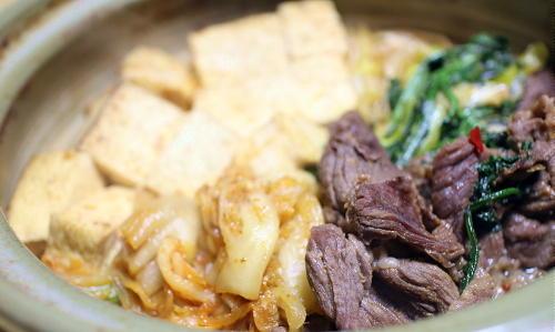 今日のキムチレシピ:キムチ牛肉豆腐