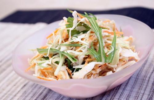 今日のキムチ料理レシピ:にんじんとキャベツのピリ辛コールスローサラダ