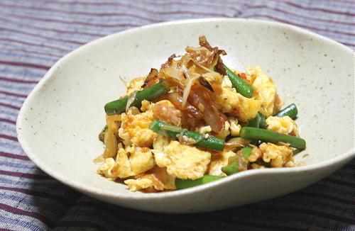 今日のキムチ料理レシピ:にんにくの芽とキムチの卵炒め