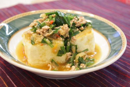 今日のキムチ料理レシピ:にらとキムチの揚げだし豆腐