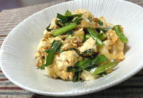 今日のキムチ料理レシピ:豆腐とちくわのキムチひき肉炒め