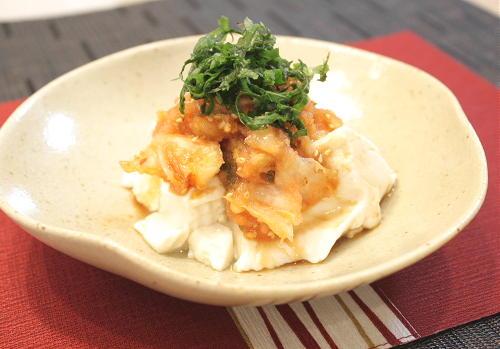 今日のキムチ料理レシピ:おぼろ豆腐のたらこキムチがけ
