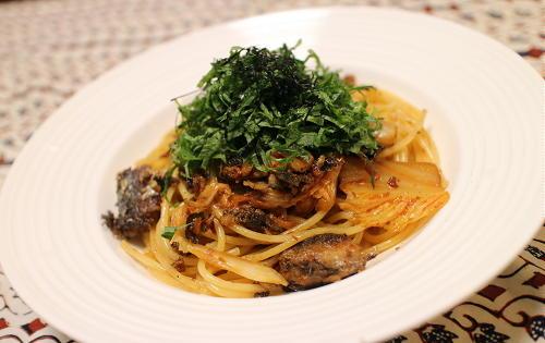 今日のキムチレシピ:オイルサーディンとキムチのパスタ