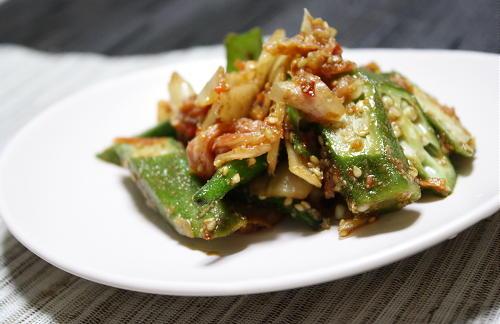 今日のキムチ料理レシピ:オクラとキムチのごま和え