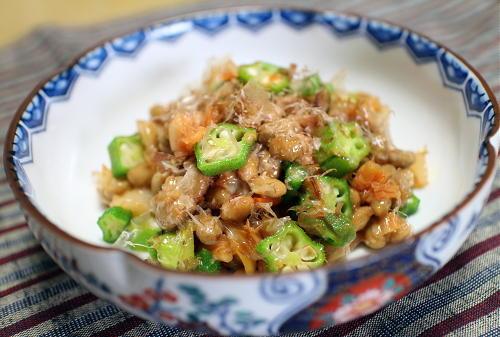 今日のキムチレシピ:オクラキムチ納豆