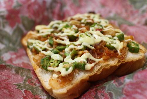 今日のキムチ料理レシピ:オクラキムチトースト