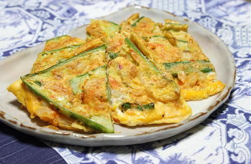 今日のキムチ料理レシピ:オクラとキムチのチヂミ