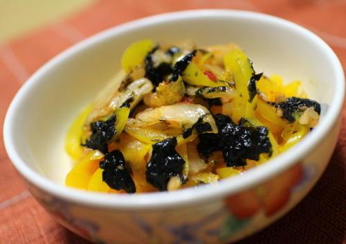 今日のキムチレシピ:パプリカとキムチの海苔和え