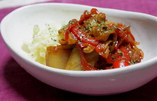 今日のキムチ料理レシピ:パプリカとキムチのパスタ