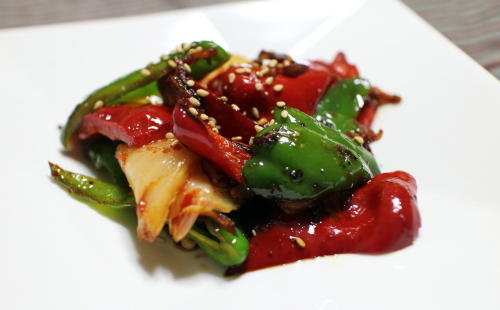 今日のキムチレシピ:ピーマンとキムチの炒めもの